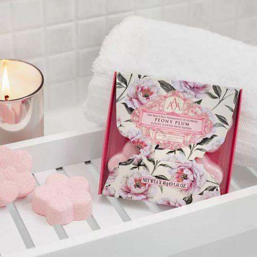 Šumivé květiny do koupele - Peony Plum 4x40g