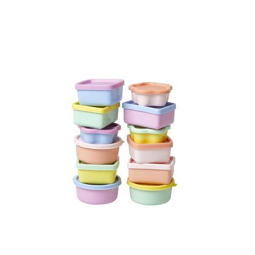 Plastové dózičky s víčky Colors - set 12 ks