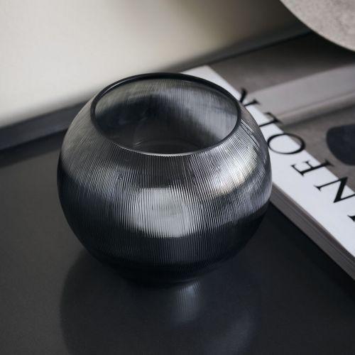 Skeněný svícen na čajovou svíčku Grey