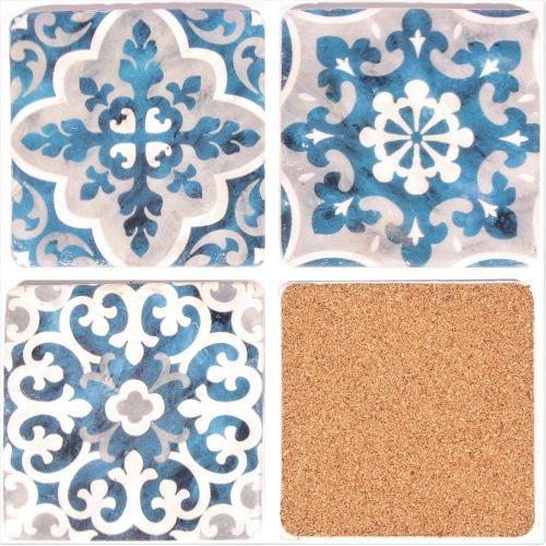 Kamenné podtácky pod hrnky Blue/White