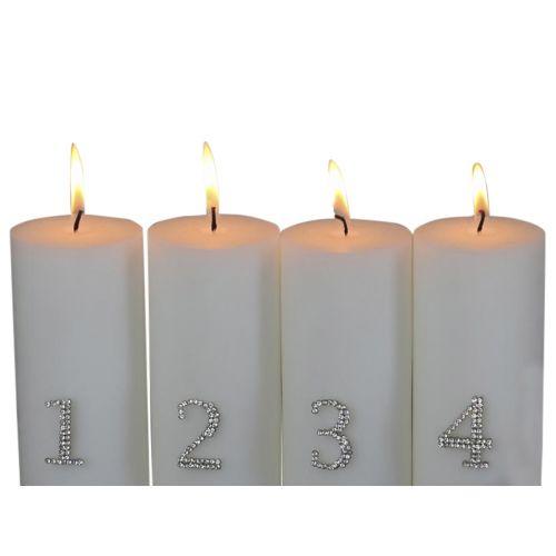 Adventní číslice s kamínky - set 4 ks