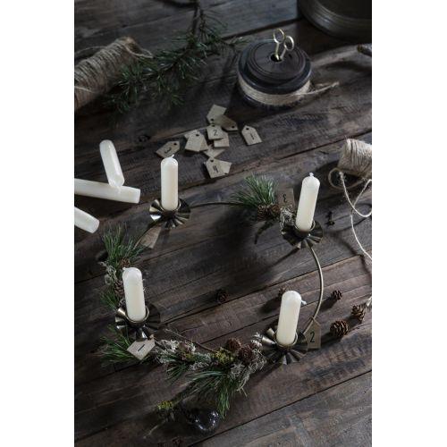 Dřevěné štítky na adventní věnec Natural - set 4 ks