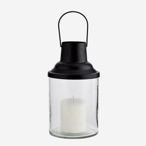 Skleněná lucerna Round Black Top