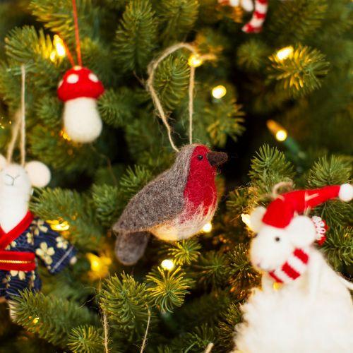 Plstěná vánoční ozdoba Robin