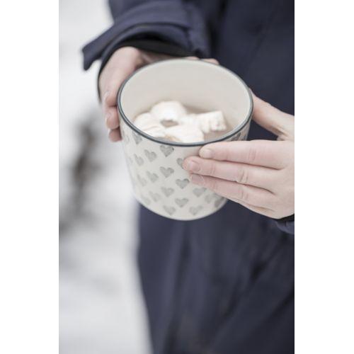 Latte cup Grey Hearts 250ml
