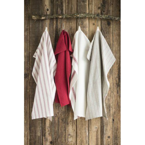 Bavlněná utěrka Red Stripes 50x70