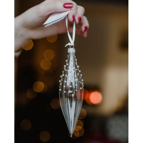 Vánoční ozdoba Crystal Clear Pearl & Stones 16 cm