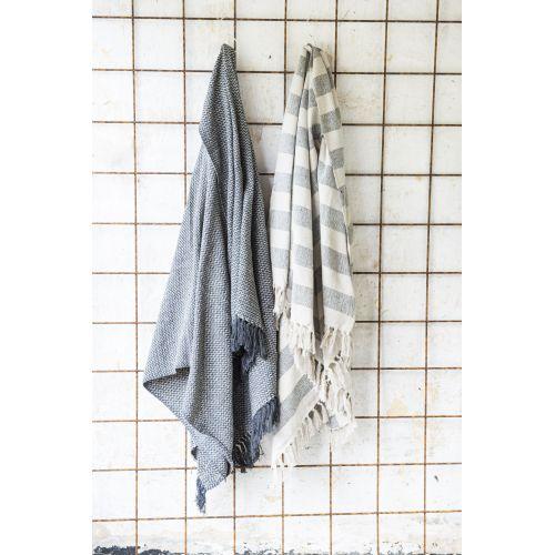 Bavlněný přehoz Cream/Black stripes 130x160 cm