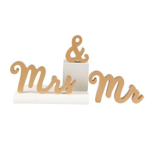 Dekorativní zlatý nápis Mr & Mrs