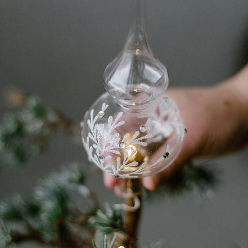 Skleněná špice na vánoční stromeček Leaves Clear