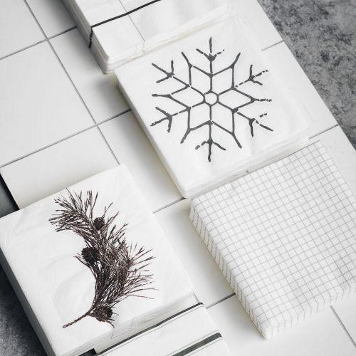 Papírové ubrousky Black Snowflake 40 ks
