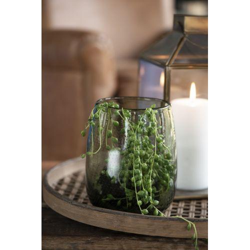 Skleněná váza Bubbles Olive 17,5