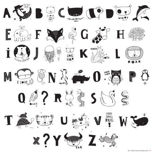 Set písmenek pro Lightbox ABC Black