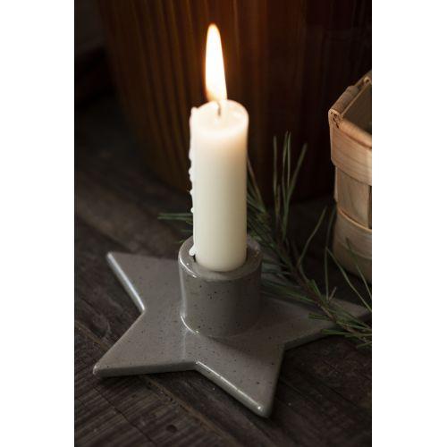 Svícen na vysokou svíčku Star Green Beige