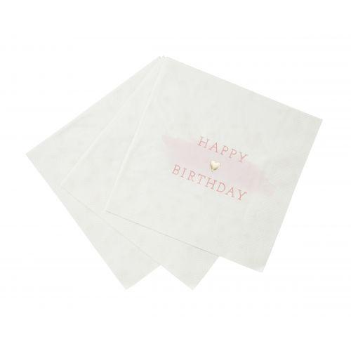 Papírové ubrousky Heart Pink - 16 ks