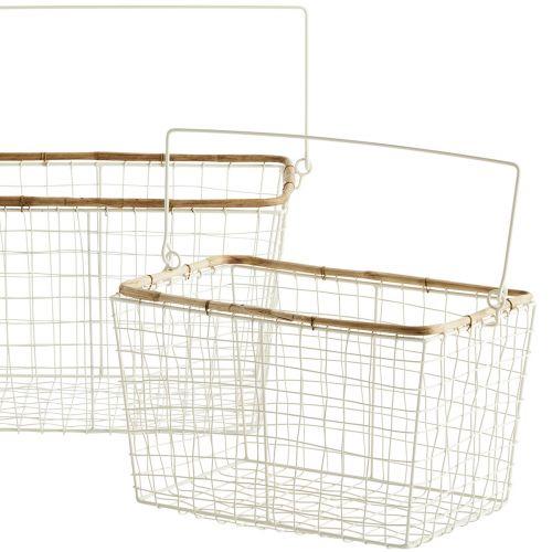 Drátěný košík s uchem Bamboo White