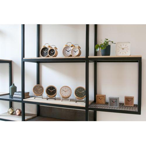 Designový budík Classic Bell Wood/White