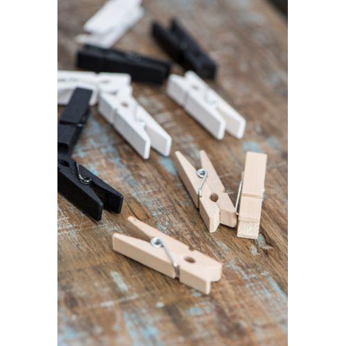 Mini dřevěný kolíček White - 10 ks