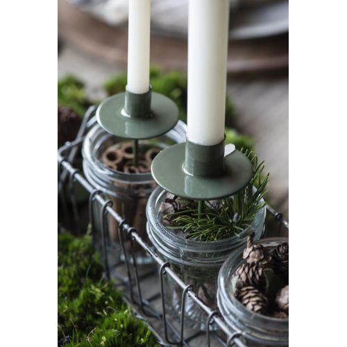 Zapichovací svícen na vysokou svíčku Green - větší