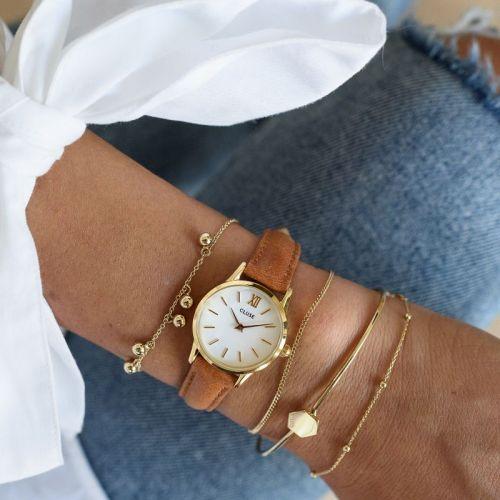 Hodinky Cluse La Vedette Gold White/Caramel