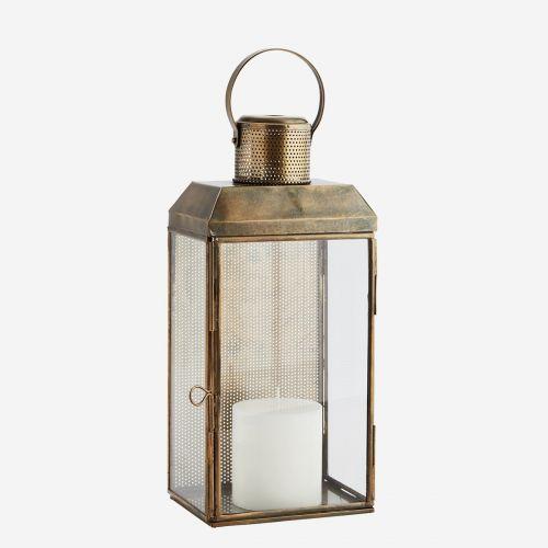 Nástěnná skleněná lucerna Aged Antique brass