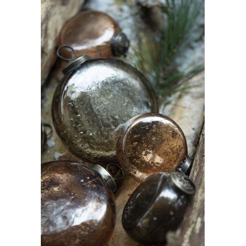 Vánoční baňka Flat Pebbled Glass Chocolate
