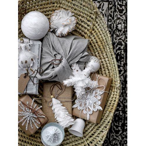 Vánoční ozdoba Feather Grey/ White 14 cm