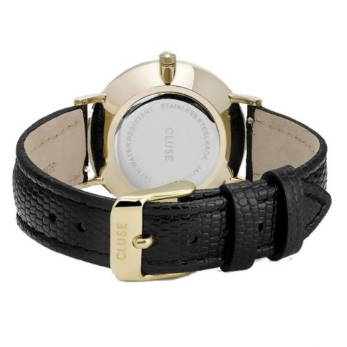 Hodinky Cluse Minuit La Perle Gold White Pearl/Black Lizard
