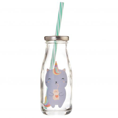 Skleněná lahvička na mlého Luna Caticorn
