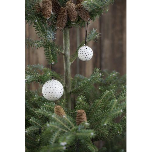 Vánoční mini ozdoba Ball White/black dot