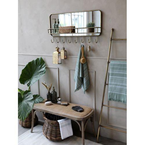 Zrcadlo s poličkou a háčky Antique Brass
