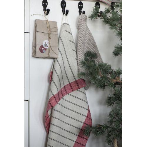 Bavlněná utěrka Beige/Red Stripes