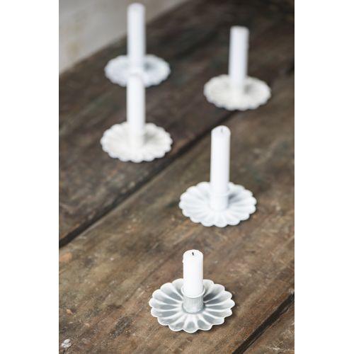 Kovový svícínek Flower White/Mint