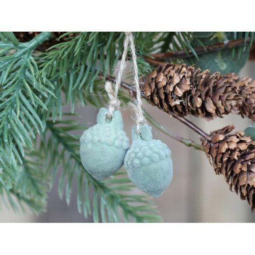 Velurová vánoční ozdoba Acorn Verte 2,2 cm