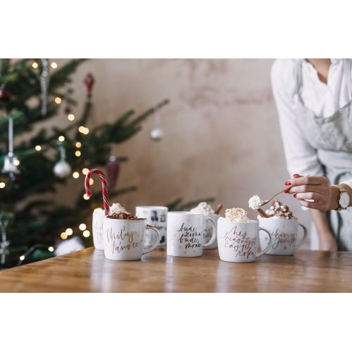 Porcelánový hrnek Miluju Vánoce CZ - zlatý