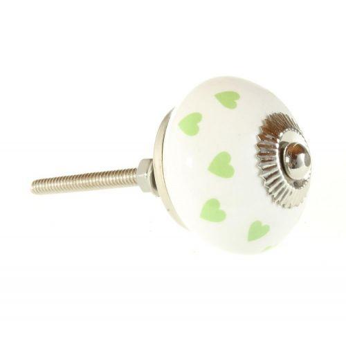 Porcelánová úchytka Green Heart 4cm