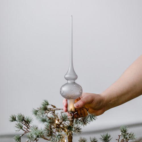 Skleněná špice na vánoční stromeček Leaves Matt grey