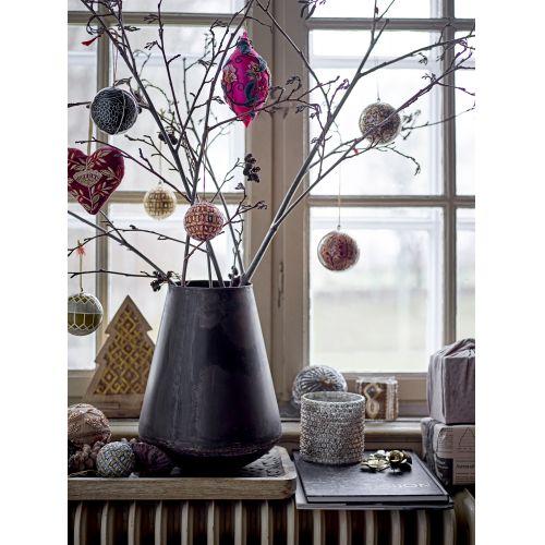 Vánoční baňka Ornament Paper Mache Creme/Black