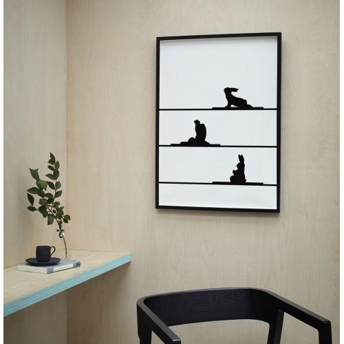 Sítotisk s králíky cvičícími jógu Yoga Rabbit 30 x 40 cm