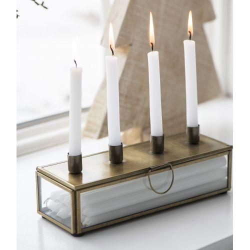 Adventní svícen s úložným boxem Brass