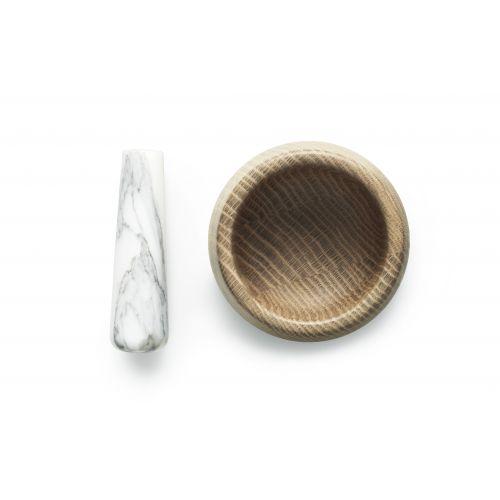Hmoždíř z dubového dřeva White Marble