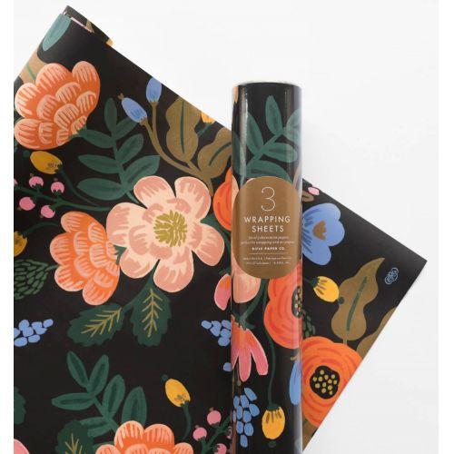 Balicí papír s květinami Bordeaux - 1 list
