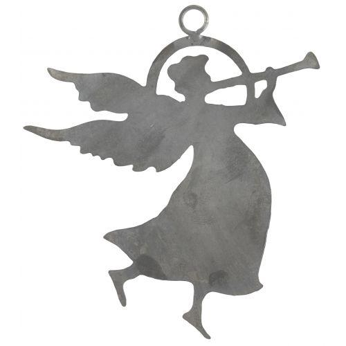 Plechový andílek s trumpetou