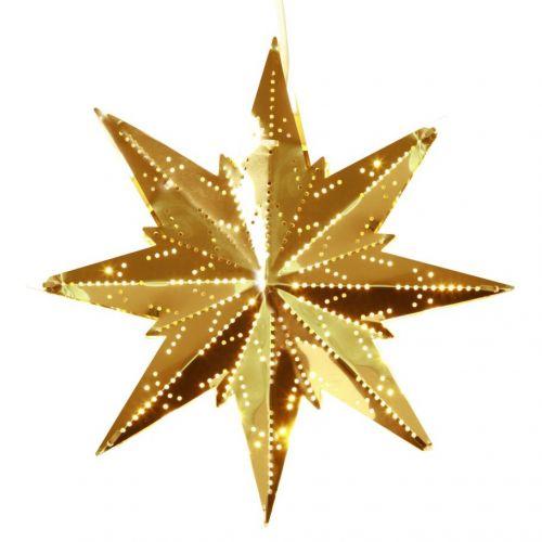 Plechová svítící hvězda Brass
