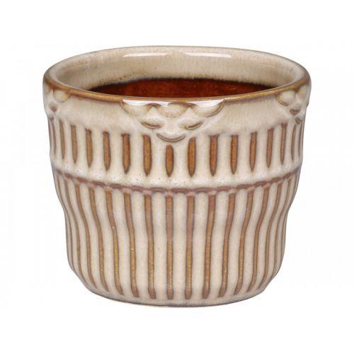 Keramický obal na květináč Nîmes Grooves Latte 6 cm