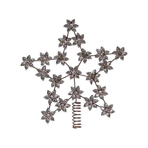 Vánoční hvězda na stromeček Antique Brass Rhinestones
