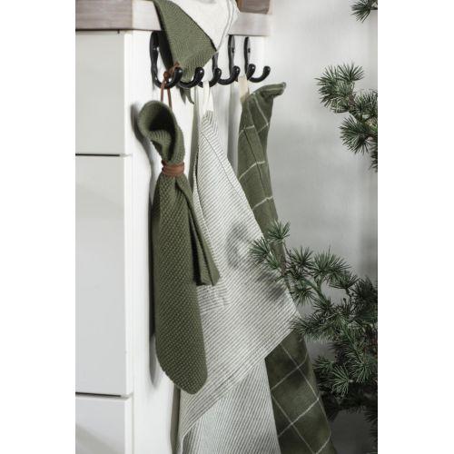 Bavlněná utěrka Beige/Green Stripes