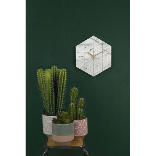 Mramorové hodiny Hexagon White