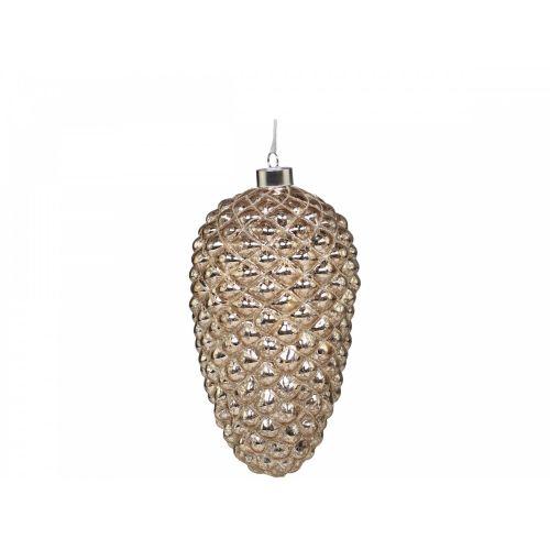 Skleněná baňka s LED drátkem Pinecone Champagne 20 cm