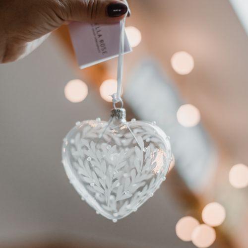 Vánoční ozdoba Crystal Clear Floral Heart 10 cm